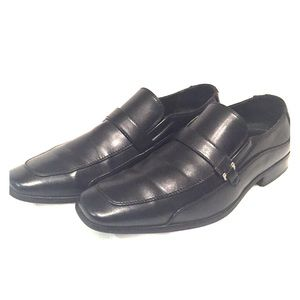 Perry Ellis Shoes - Black Leather Slip-on Loafers